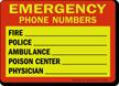 Emergency Phone Numbers Glow Sign