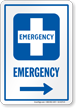 Emergency Right Arrow Hospital Sign