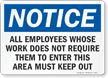 Notice Employees Keep Out Sign