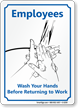 Wash Your Hands Before Returning Work Sign
