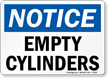 Notice Empty Cylinders Sign