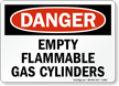 OSHA Danger Empty Flammable Gas Cylinders Sign