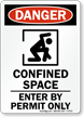 Confined Space Enter By Permit Danger Sign