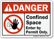 Confined Space Enter By Permit Only ANSI Sign