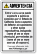 Custom Environmental Exposure Spanish Prop 65 Sign