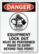 Equipment Lock Out Prior To Entry OSHA Sign
