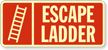 Glow-In-The-Dark Fire And Emergency Ladder Sign