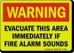 GlowSmart Evacuate Area Immediately If Alarm Sounds Sign
