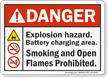Explosion Hazard Battery Charging Area ANSI Danger Sign