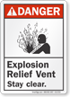Explosion Relief Vent Stay Clear ANSI Danger Sign