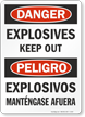 Bilingual Explosives Keep Out Glow Sign, OSHA Danger