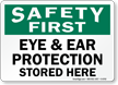 Eye Ear Protection Stored Here Safety First Sign