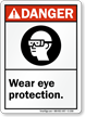 Danger (ANSI) Wear Eye Protection Sign