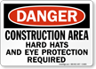 Danger Construction Hard Hats Protection Sign