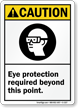 Caution (ANSI) Eye Protection Required Beyond Sign