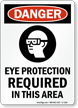 Eye Protection Required Danger Sign