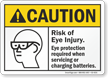Eye Protection Required When Charging Batteries Sign