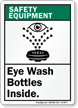 Eye Wash Bottles Inside Safety Equipment Sign