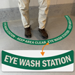 Eye Wash Station - Keep Area Clear, 2-Part Floor Sign
