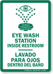 Eye Wash Station Inside Restroom Bilingual Sign