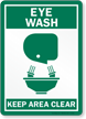 Eye Wash Keep Area Clear Sign