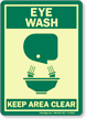 Eye Wash Keep Area Clear (graphic) Sign