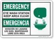 Emergency Eye Wash Keep Clear Bilingual Sign
