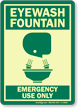Eyewash Fountain Emergency Use Only (graphic) Sign