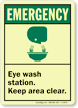 Emergency (ANSI): Eye Wash Station (graphic) Sign