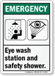 Eye Wash Station Safety Shower ANSI Emergency Sign