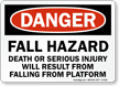 Fall Hazard Death Injury Falling From Platform Sign