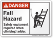 Fall Hazard Safety Equipment Required Sign