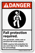 Fall Protection Required Danger Sign