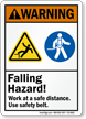 Falling Hazard Use Safety Belt Warning Sign