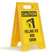 Falling Ice And Snow Caution Floor Stand Sign