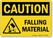 Falling Material OSHA caution Sign With Graphic