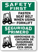 Fasten Seat Belt Using Forklift Bilingual Sign