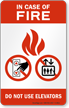 In Case of Fire Elevators (tri-flame) Sign