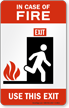 Fire Elevators Out of Service (tri-flame) Sign