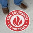 Fire Equipment Do Not Block SlipSafe Floor Sign