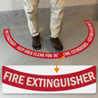 Fire Extinguisher - Keep Area Clear for 36 Inches, 2-Part Floor Sign