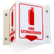 Projecting Fire Extinguisher Sign With Down Arrow