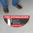 Fire Extinguisher - To Operate (PASS), Keep Area Clear, Semi-Circle, Red & Black