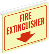 Fire Extinguisher Glow Z-Sign for Ceiling