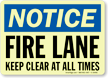 Notice: Fire Lane Keep Clear Sign