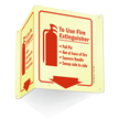Fire Extinguisher Instruction Projecting Glow Sign onmouseover =