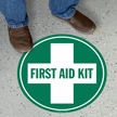 First Aid Kit Circular Floor Sign