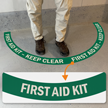 First Aid Kit - Keep Area Clear, 2-Part Floor Sign