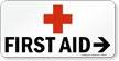 First Aid Sign with Red Cross Symbol
