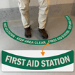 First Aid Station - Keep Area Clear, 2-Part Floor Sign